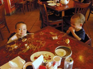 There may not be much Asian culture in Florida, but AJ and JJ have certainly inherited a love of Chinese food!  The boys at dim sum circa 18 months.