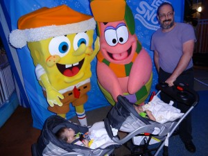 DJ and MJ are happy to meet SpongeBob and Patrick even if their brothers aren't.