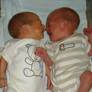 "AJ and JJ having their first encounter ""on the outside"" before discharge from NICU. BFF's ever since!"