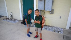 1st day of 3rd grade. Yes, AJ is wearing a pepperoni pizza backpack